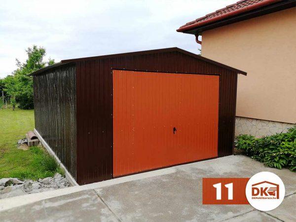 Mobilgarázs 4m × 6m Nyeregtető - barna és rézbarna színű