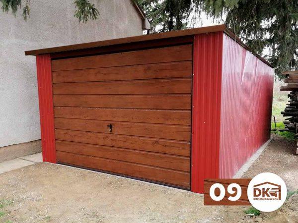 Mobilgarázs 3,5m x 5m - Hátra lejtős tető - Tűzvörös és dió színű
