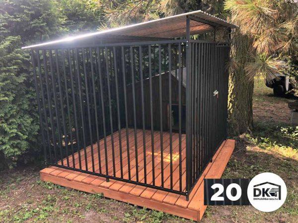 Kutyakennel 2m x 2m Mélyfekete - Hátra lejtős tető