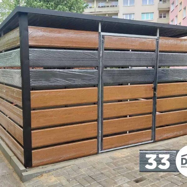 Kukatároló 3m x 2m Aranytölgy és antracitszürke - Hátra lejtős tető
