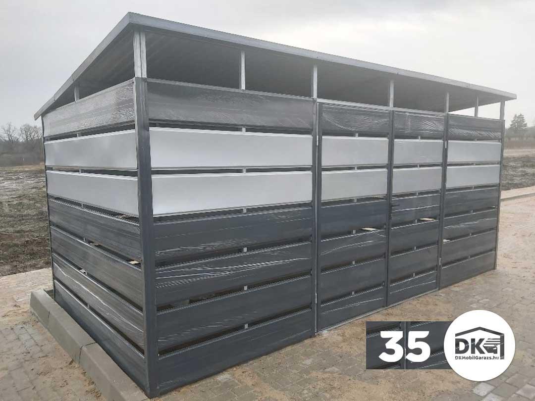 Kukatároló 4m x 2m Antracitszürke és feher alumínium - Hátra lejtős tető