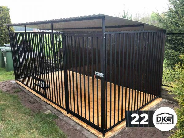 Kutyakennel 4m x 2m Mélyfekete - Hátra lejtős tető
