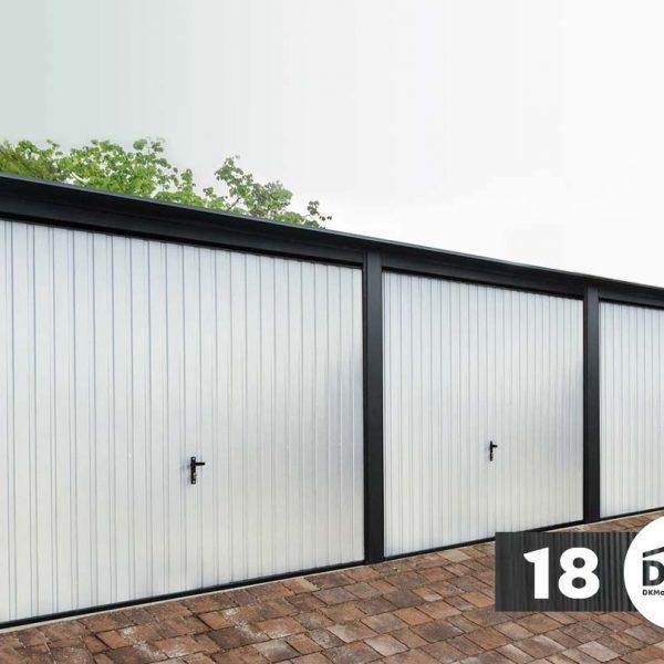 Három kocsis garázs Prémium 9m x 6m Tiszta fehér Mélyfekete