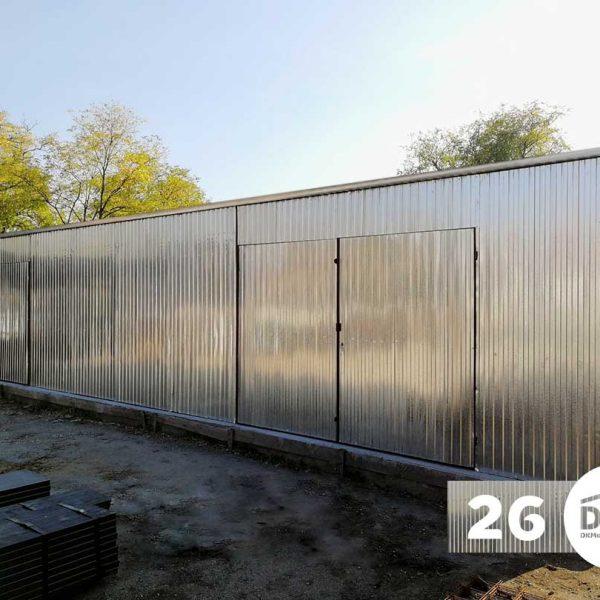 Mobilgarázs/Raktár 12m x 5m Horganyzott - Hátra lejtős tető