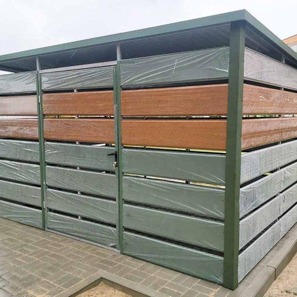 Kukatároló-3m-x-2m-Krómzöld-és-aranytölgy---Hátra-lejtős-tető